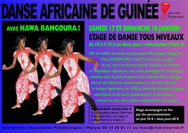 Stage de danse africaine de Guinée animé par Hawa Bangoura à Paris 4e (Micadanses)