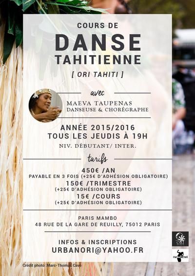 Cours de danse tahitienne sur paris ori tahiti paris - Cours de tapisserie d ameublement paris ...